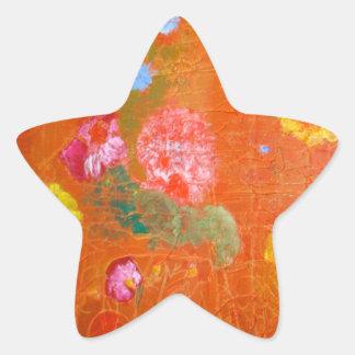 Orange Floral Design. Star Sticker