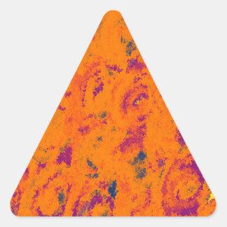 Orange floral design triangle sticker
