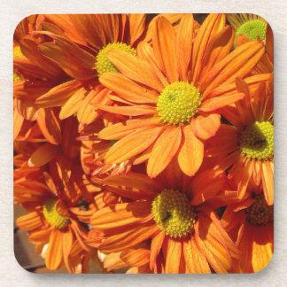 Orange floral drink coaster set