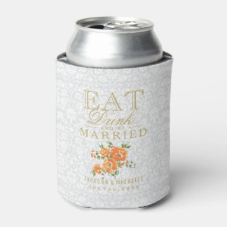 Orange Floral - Eat, Drink and Be Married Can Cooler