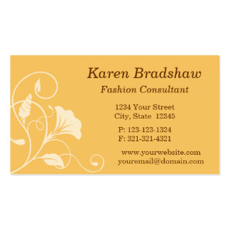 Orange Floral Fashion Consultant Business Card Business Card Template