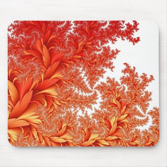 orange floral fractal pattern mouse mat