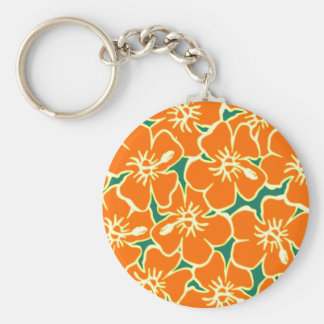 Orange Floral Hibiscus Hawaiian Flowers Keychain