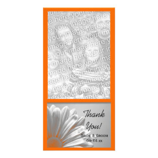 Orange Floral Highlights Wedding Thank You Card