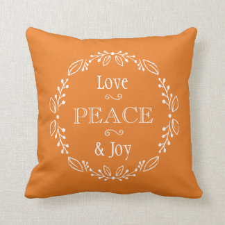 Orange Floral Holiday Peace Typography Cushion