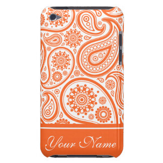 Orange Floral Paisley Monogram Pattern Barely There iPod Covers