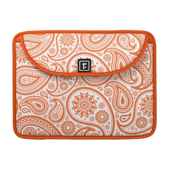 Orange Floral Paisley Monogram Pattern Sleeve For MacBooks