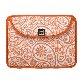 Orange Floral Paisley Monogram Pattern Sleeves For MacBook Pro