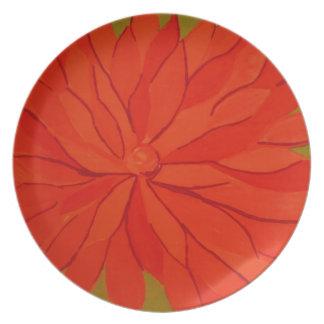 orange floral party plates