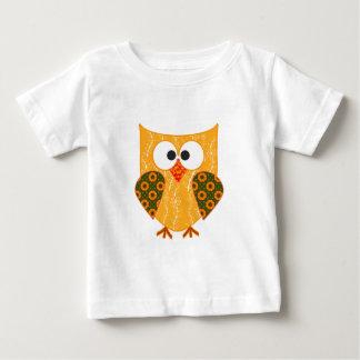 Orange Floral Patchwork Applique Style Owl Shirts