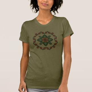 Orange Floral Quilt Square Cross Stitch T-Shirt
