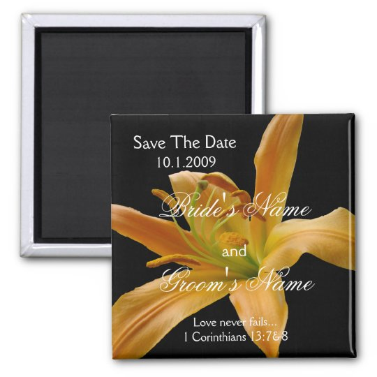 Orange Floral Save the Date magnet