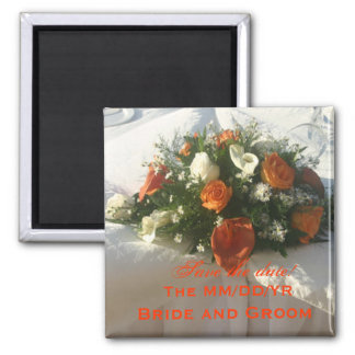 Orange Floral Save the Date! Square Magnet