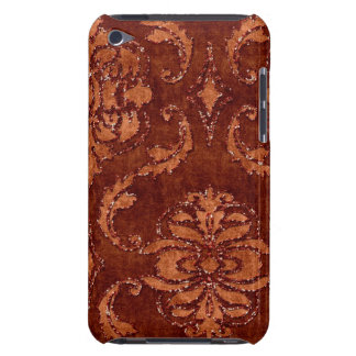 Orange Floral Sequin Glitter Velvet Look Case Barely There iPod Cases