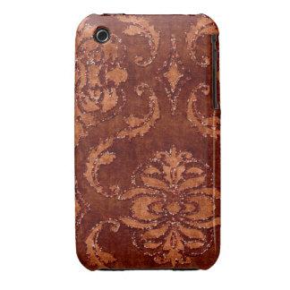 Orange Floral Sequin Glitter Velvet Look Case iPhone 3 Case