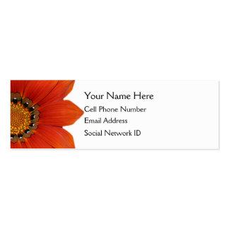 Orange Floral Skinny Profile Card Business Cards