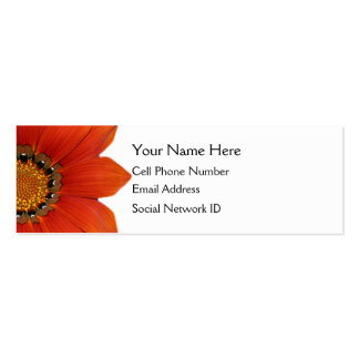 Orange Floral Skinny Profile Card Pack Of Skinny Business Cards