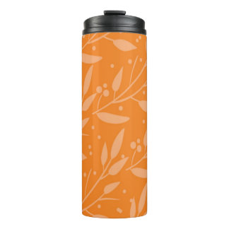 Orange Floral Thermal Tumbler