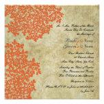Orange Floral Vintage Square Wedding Invitations