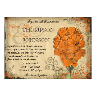 Orange Floral Vintage Wedding Invitation