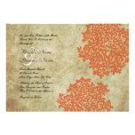 Orange Floral Vintage Wedding Invitations