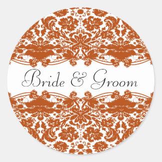Orange Floral Wedding Classic Round Sticker