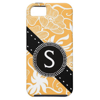 Orange Floral with Bold Monogram Case For The iPhone 5