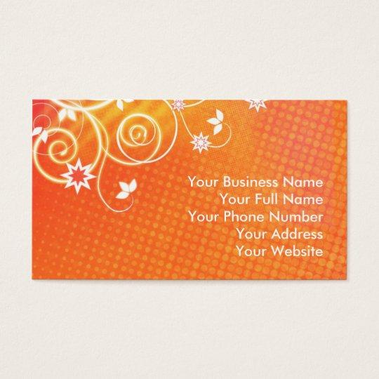 Orange florals business card