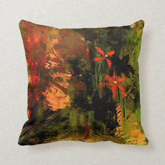 Orange Flower Abstract Throw Pillow