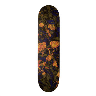Orange flower against leaf camouflage pattern custom skateboard
