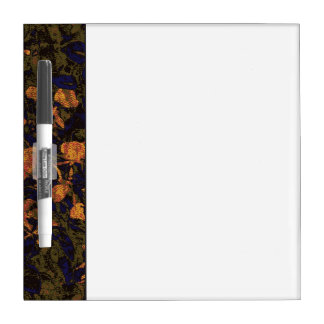 Orange flower against leaf camouflage pattern dry erase board
