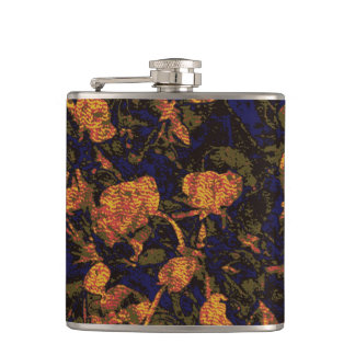 Orange flower against leaf camouflage pattern flasks