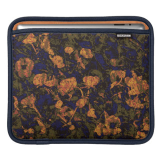 Orange flower against leaf camouflage pattern iPad sleeves