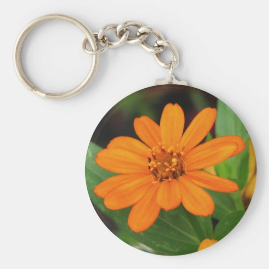 Orange Flower Basic Round Button Key Ring