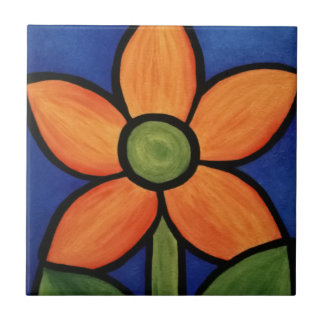 Orange Flower Blue Sky Colorful Painting Tile