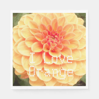 Orange Flower Dahlia Photo Napkin Paper Serviettes