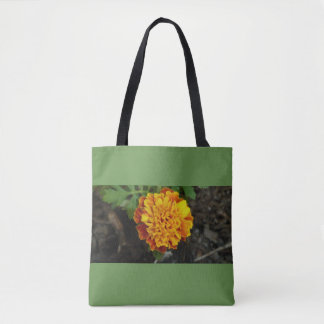 Orange Flower green background carry bag