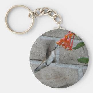 Orange flower Hummingbird Key Chain