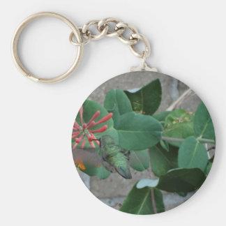 orange flower hummingbird keychain