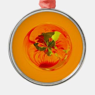 Orange flower in globe Silver-Colored round decoration