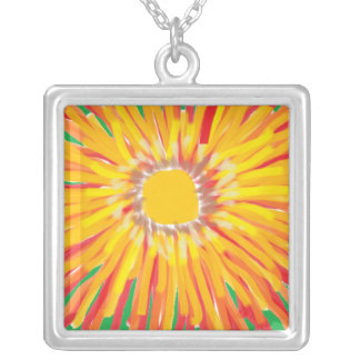 Orange Flower in Oil Square Pendant Necklace