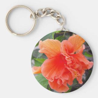 Orange Flower Basic Round Button Key Ring