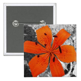 Orange flower, lilly badge / button