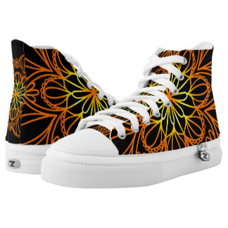 Orange Flower Mandala Black High Top Shoes