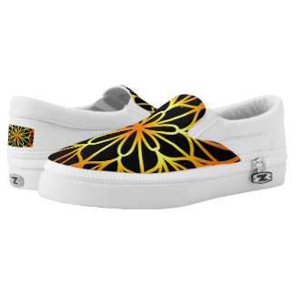 Orange Flower Mandala Black Slip on ZIPZ