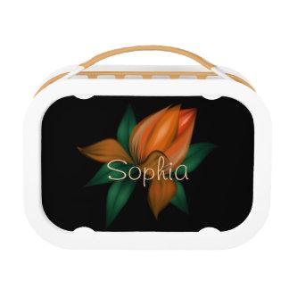 Orange Flower on Black Lunch Box
