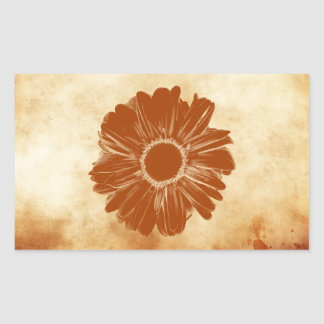 Orange flower on grungy vintage paper rectangular sticker