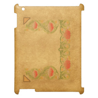 Orange flower on ocher iPad cover