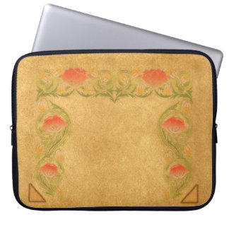 Orange flower on ocher laptop sleeve