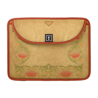Orange Flower on ocher Sleeve For MacBooks